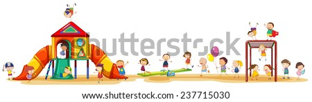 Poster showing children enjoying the playset outside - stock vector