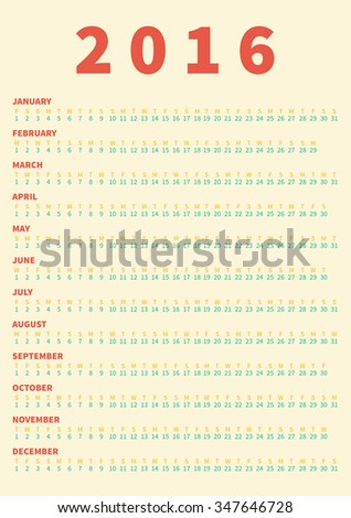 Poster size Calendar for 2016. Week Starts Monday. Simple Vector Template, - stock vector