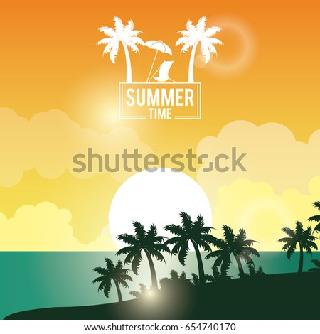 Poster Sunset Landscape Of Palm Trees On The Beach With Logo Summer Time