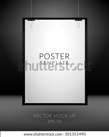 Poster template. Blank paper hanging with paper clips on a dark background.  Vector mock up - EPS 10 - stock vector