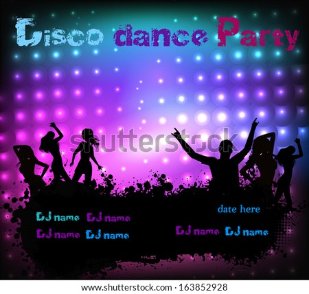 Poster template for disco party with silhouettes of dancing people and grunge elements - stock vector