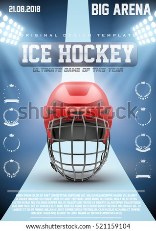 Poster Template Ice Hockey Games with Goalkeeaper Helmet. Cup and Tournament Advertising. Sport Event Announcement. Vector Illustration.