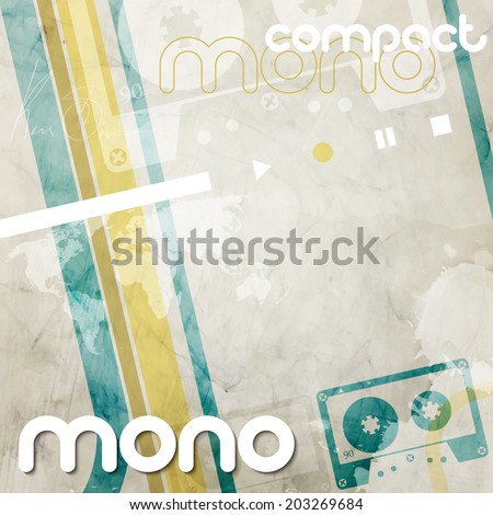 poster template with retro cassette tape and world map over grunge background - stock vector