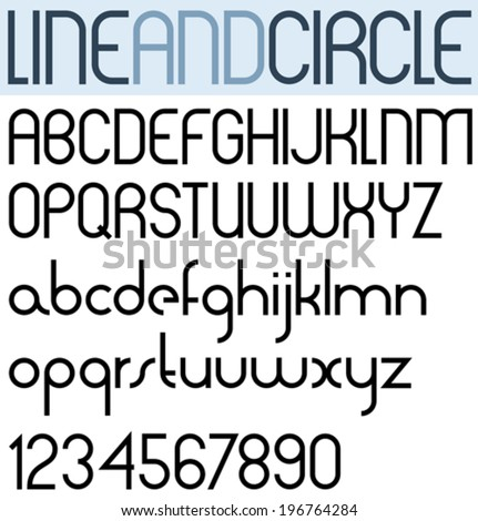 Poster thin circle black font and numbers. - stock vector