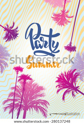 Poster to the summer party on the beach. Vector illustration. - stock vector