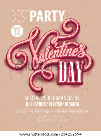 Poster Valentine's Day Party. Vector illustration - stock vector