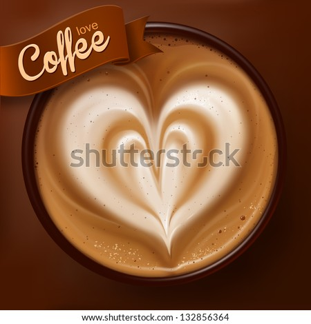 Poster with a coffee cup. Vector - stock vector