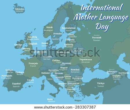 "Poster with a map of Europe ""International Mother Language Day""; marked on the map the name of the European languages (English and the local language)"