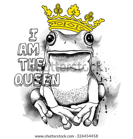 Poster with a picture of a frog wearing a yellow crown. Vector illustration. - stock vector