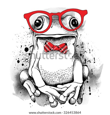 Poster with a picture of a frog wearing glasses and red tie. Vector illustration. - stock vector