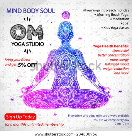 Poster With A Watercolor Men In Meditation