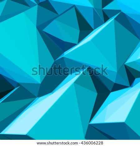 Poster with abstract blue ice cubes and posterized colors - stock vector