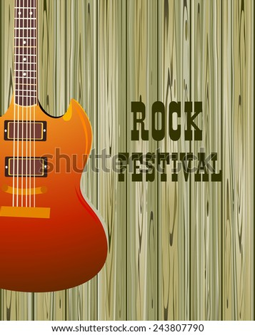 poster with an electric guitar on a wood background - stock vector