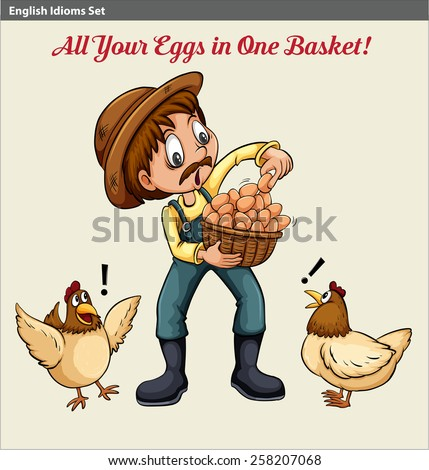 Poster with an English idiom showing a farmer holding a basket of eggs - stock vector