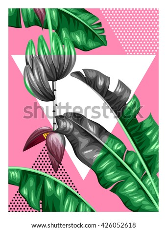 Poster with banana leaves. Decorative image of tropical foliage, flowers and fruits. Design for advertising booklets, banners, flayers, cards.