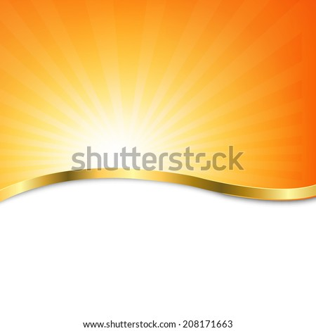 Poster With Beams, With Gradient Mesh, Vector Illustration