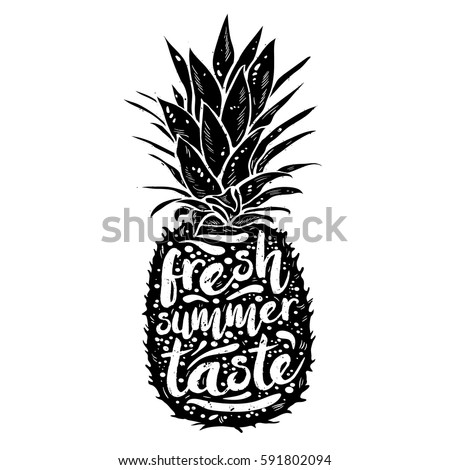 poster with black silhouette of a pineapple, tagline fresh summer taste, grunge texture. Print t-shirt, graphic element for your design. Vector illustration.