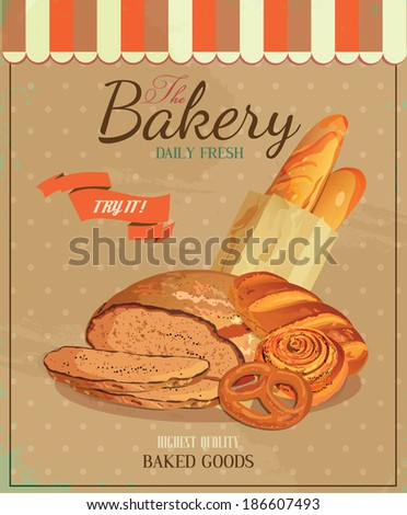 Poster with bread, baton, french baguette, bun, baton and pretzel. Vintage style.