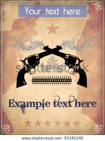 Poster with dual revolvers - stock vector