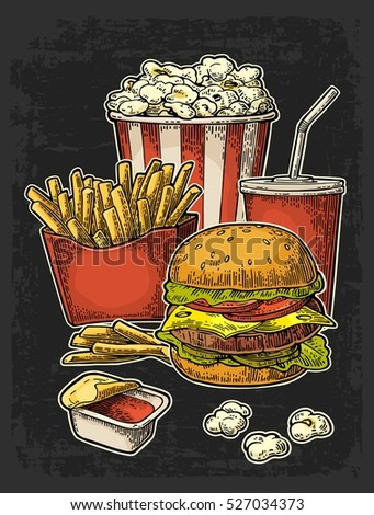 Poster with fast food. Cup cola, hamburger, hotdog, fry potato in red paper box, carton bucket popcorn, ketchup. Isolated on dark background. Vector vintage engraving illustration for menu.