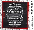 Poster with greetings Merry Christmas and happy new year, creative lettering, typography. Greeting card with congratulations christmas. Banner with text greetings. Vector illustration
