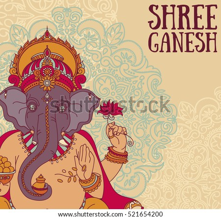 Poster with Lord Ganesha, can be used as card for celebration Ganesh Chaturthi, vector illustration