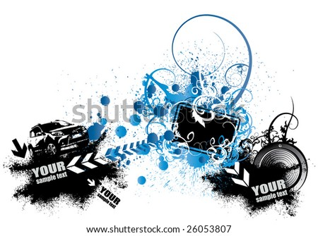 Poster with lots of things - stock vector