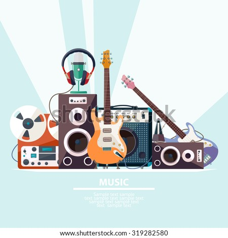 Poster with musical instruments. Flat design. - stock vector