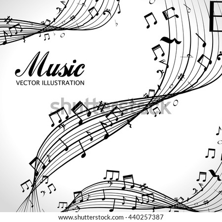 poster with musical notes isolated icon design, vector illustration  graphic