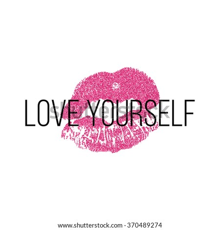 Poster with pink lips prints on white background. - stock vector