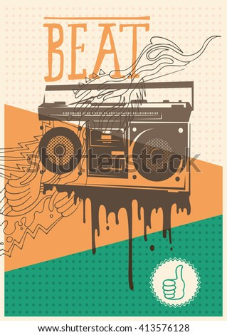 Poster with retro tape recorder. Vector illustration.