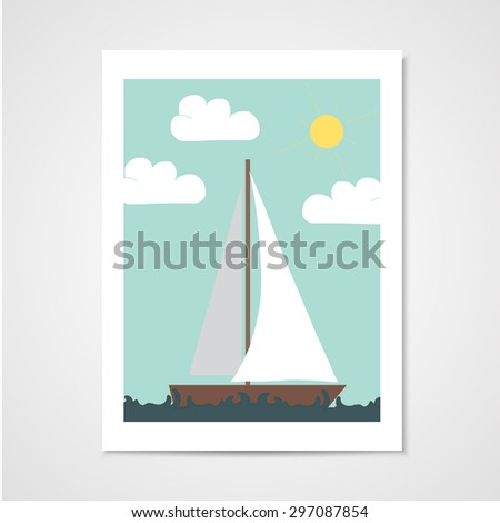 Poster with sailboat in the sea. Illustration in flat style - stock vector