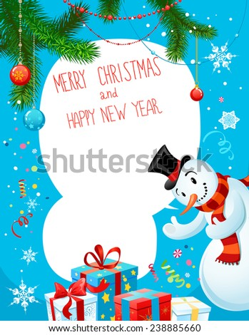 Poster with snowman on blue background. Copy space. - stock vector