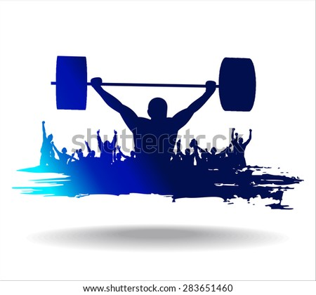 Poster with the athlete. - stock vector