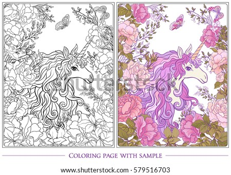 poster unicorn bouquet roses butterflies on stock vector 579516703