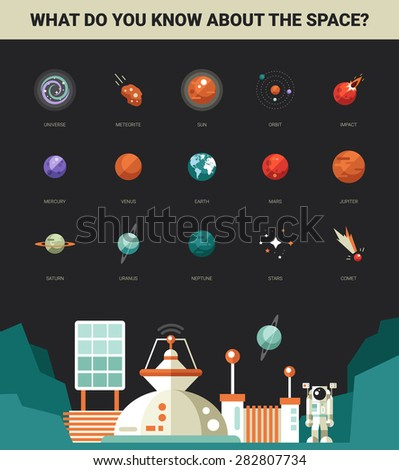 Poster with vector modern flat design space icons and infographics elements set for your website illustration - stock vector