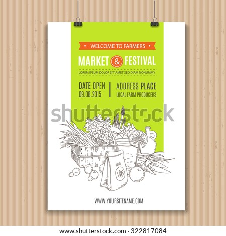 Poster with vegetables and fruits, organic food and drink. Perfect design for farm market advertising, farming industry and bio product business. Modern identity for bio products and agriculture. - stock vector