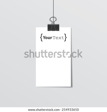 Poster with your text. Paper clips and shadow - stock vector