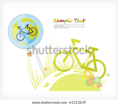 Poster. World Day without cars. sign cycle track - stock vector