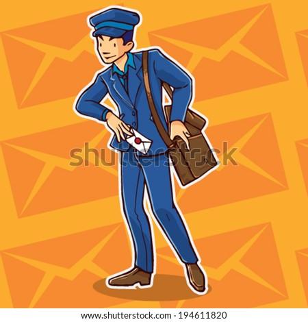 Postman Cartoon - stock vector