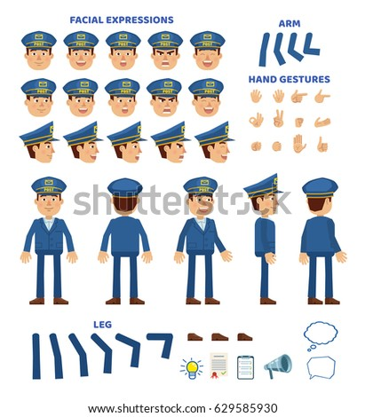 Postman character creation set. Various gestures, emotions, diverse poses, views. Create your own pose, animation. Simple style vector illustration