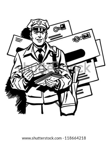 Postman Delivering Mail - Retro Clipart Illustration - stock vector