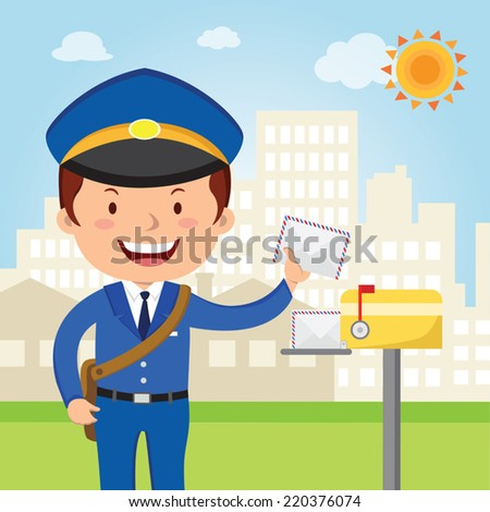 Postman delivery mail. Friendly postman in blue uniform with bag and letters. - stock vector