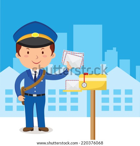 Postman. Friendly postman in blue uniform with bag and letters. - stock vector