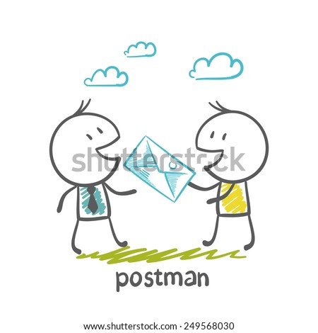 postman gives an illustration of a man - stock vector