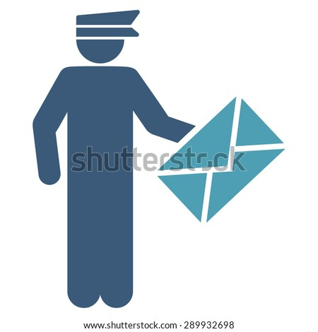 Postman icon from Business Bicolor Set. This flat vector symbol uses cyan and blue colors, rounded angles, and isolated on a white background. - stock vector