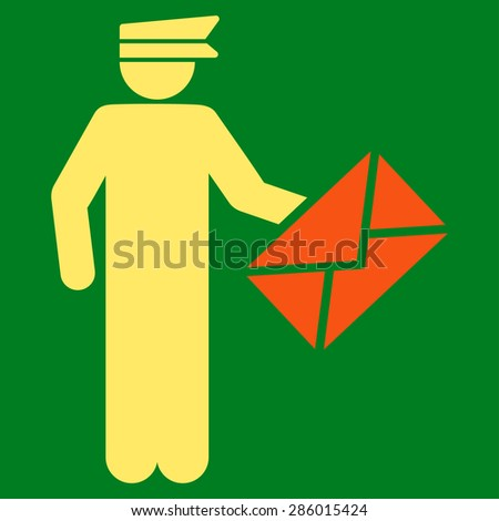 Postman icon from Business Bicolor Set. This flat vector symbol uses orange and yellow colors, rounded angles, and isolated on a green background. - stock vector