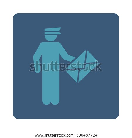 Postman icon. This flat rounded square button uses cyan and blue colors and isolated on a white background. - stock vector