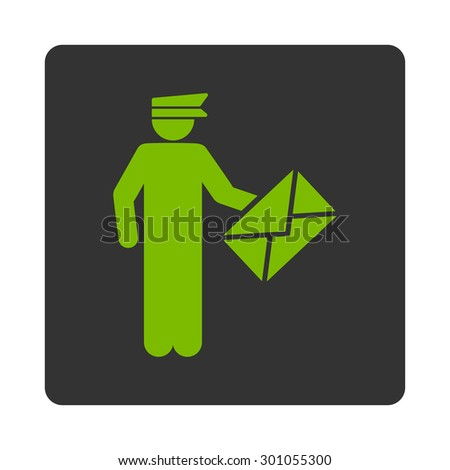 Postman icon. This flat rounded square button uses eco green and gray colors and isolated on a white background. - stock vector