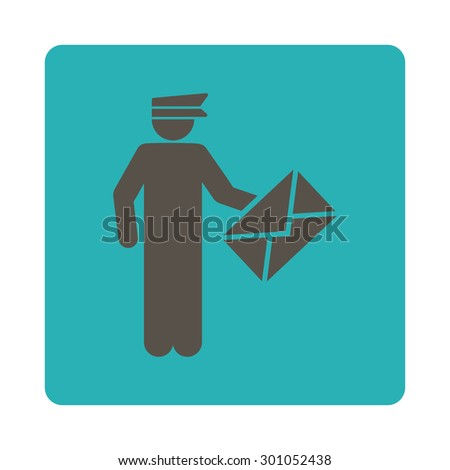 Postman icon. This flat rounded square button uses grey and cyan colors and isolated on a white background. - stock vector